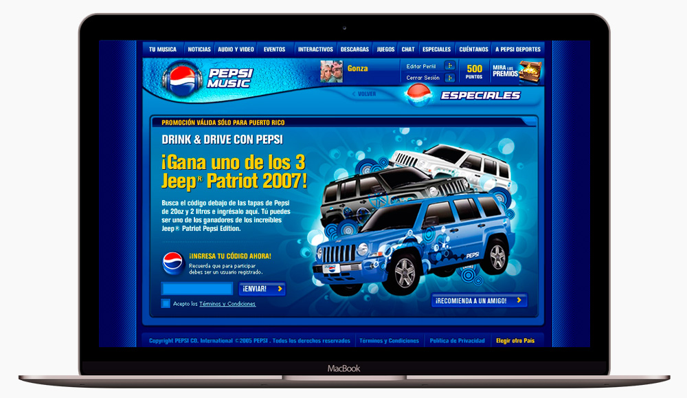 pepsimundo website mockup concurso jeeps