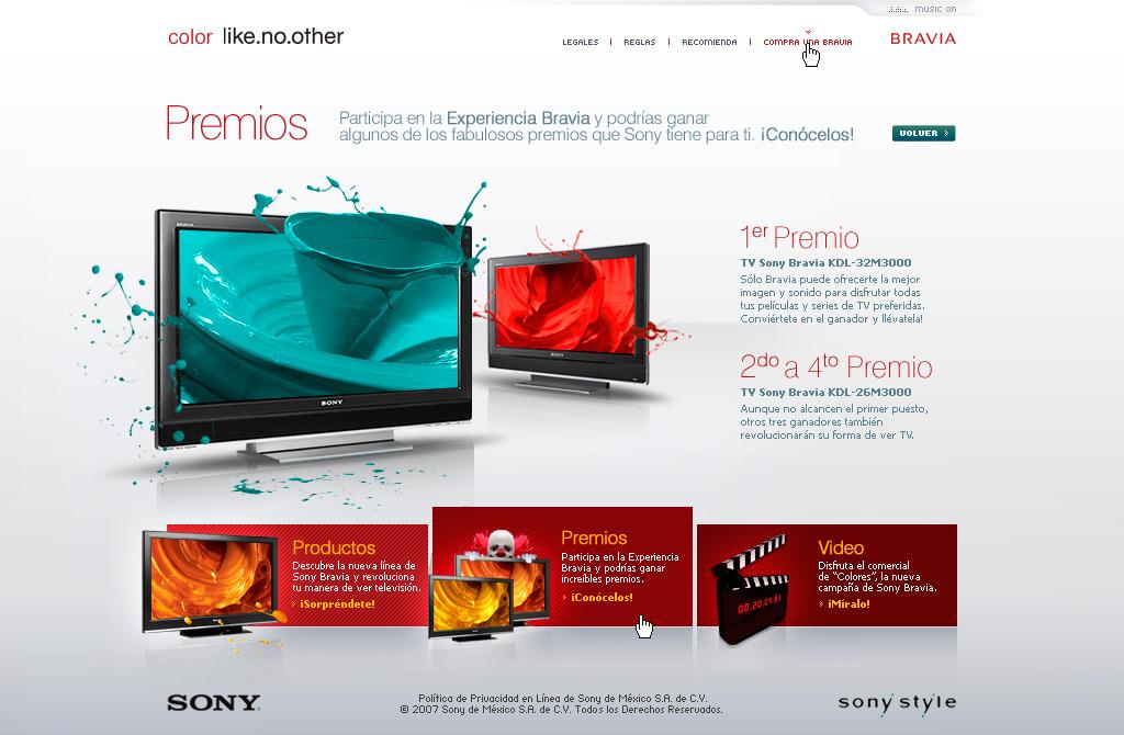 sony bravia mexico website premios