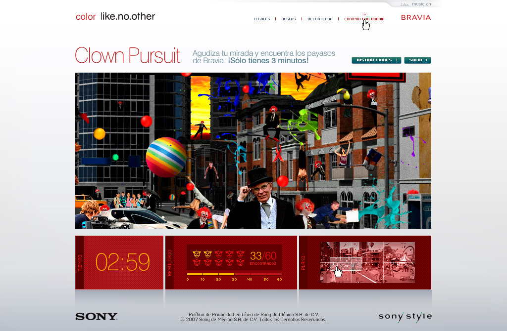 sony bravia clown pursuit game website